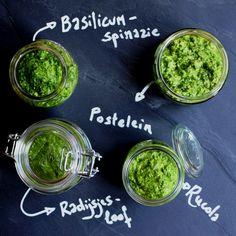 Vier keer verrassende pesto met postelein, spinazie, radijsjesloof of rucola.