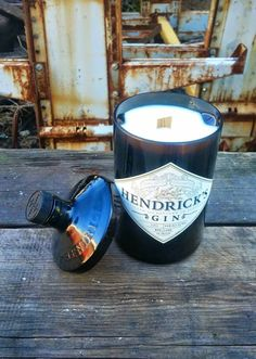 Man Cave Mens Candle This bottle has been cut, sanded and polished. – bottle top acts as the candles snuffer and looks amazing sitting beside this Hendrick's Gin candle.