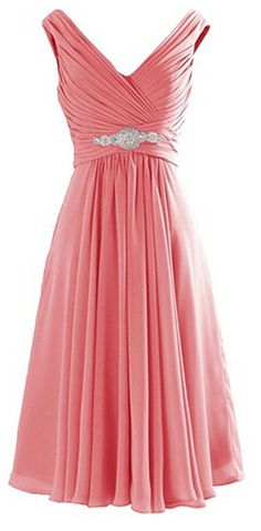 ThaliaDress Short V Neck Bridesmaid Party Evening Dresses Prom Gowns T194LF >>> Details can be found  : Bridesmaid Dresses