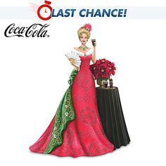"""A FIRST! Limited-edition 2013 COCA-COLA® lady figurine wears a holiday gown with faux fur, simulated jewels. Decorative table, flowers, more. Measures approximately 7-1/4"""" H  From The Hamilton Collection  Price: $99.96"""