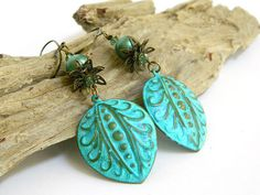 Patina earrings are very popular and with so many styles to choose from you can see why! These turquoise earrings feature tear drop shaped