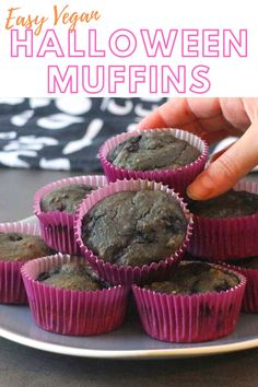 What do you all have planned for Halloween this year? It's a bit up in the air over here.   Whatever we do, I want to make sure Halloween is still special for our kiddo! And these Halloween muffins are definitely on the menu,  These mixed berry Halloween muffins don't use any artificial coloring. They're vegan smoothie muffins and are a great way to sneak a healthy treat into your otherwise candy-filled day. Vegan Sweets, Vegan Snacks, Healthy Treats, Vegan Desserts, Dessert Recipes, Breakfast Recipes, Apple Banana Muffins, Vegan Christmas Desserts, Savoury Finger Food