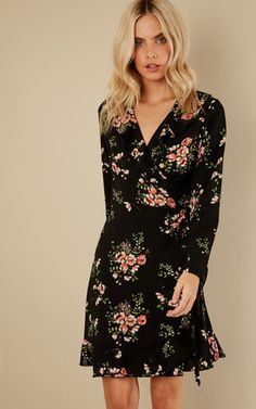476cd770aaae Black Floral Wrap Dress Floaty Summer Dresses
