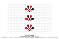 Semne Cusute: MOTIVE: floricica marului (P30, M1k2) Folk Embroidery, Embroidery Patterns, Cross Stitch Patterns, Simple Cross Stitch, Pearler Beads, Pebble Art, Needle And Thread, Beading Patterns, Pixel Art