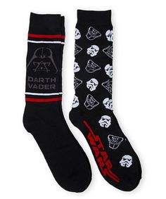 Another great find on #zulily! Black & Red Star Wars Crew Two-Pair Socks Set…