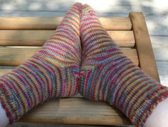 These toe-up Stockinette socks are great socks for learning the basics of toe-up knitting. They use the Turkish Cast on, a short-row heel, and more.