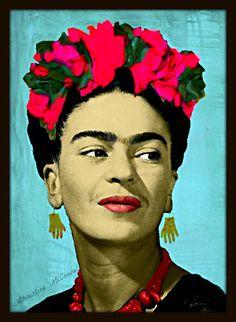 Frida Kahlo Painting Print Mixed Media Collage by ARTDECADENCE