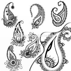 #Vector Hand Drawn Paisley Vector Elements