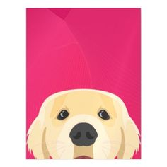 Illustration Golden Retriver with pink background Magnetic Card - invitations personalize custom special event invitation idea style party card cards