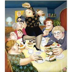 The Vicar's Tea Party, Beryl Cook -English Artist Beryl Cook, Plus Size Art, Vicars, English Artists, British Artists, Hens Night, Tea Art, Fat Women, Girls Shopping