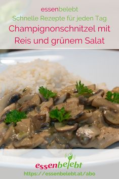 Champignonschnitzel mit Reis, ein Klassiker, der super gut schmeckt und   schnell zu machen ist. Du brauchst dafür grad mal 30 Minuten. Grad, Super, Fast Recipes, Meat, Simple Recipes, Rice, Healthy Recipes