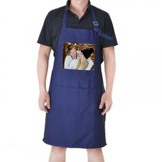 Personalised Adult Apron With Pocket and personalized photo Blue color  Deep blue coloured adult apron Neck tie adjustment for different height individuals Larger pocket at waist level for storing...@ artfire
