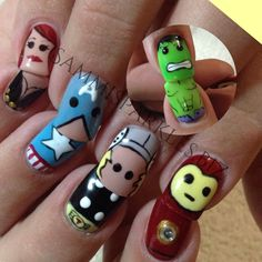 Marvel Lego Characters! Nail art includes Black Widow, Captain America, Thor, Iron Man and The Hulk