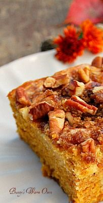 Pumpkin Cream Cheese Coffee Cake Recipe ~ Says: It is divine... It has swirls of cream cheese through it making it moist, very moist. The pecan and brown sugar topping adds just enough crunch and sweet to round this coffee cake up and make it perfect.