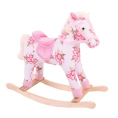 this gorgeous carefully crafted wooden rocking horse features a delightful floral deign with a soft baby nursery cool bee animal rocking horse