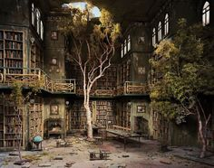 - Lori Nix, The Library, Photograph of diorama, from The City Series. Oh, a post-apocalyptic library diorama. There could likely be nothing more pleasing to me than the image of trees growing. Abandoned Buildings, Abandoned Library, Abandoned Mansions, Old Buildings, Abandoned Places, Fountains Of Wayne, Dream Library, Magical Library, City Library