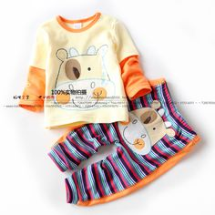 14男童春秋造型套装 宝宝纯棉套装 黄色上衣T恤+裤子超酷婴儿童装-淘宝网