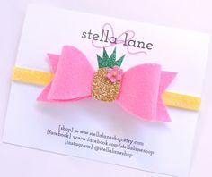 Pink Pineapple Felt Bow Headband  baby girl by StellaLaneShop