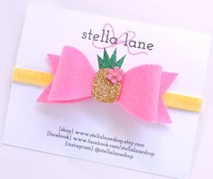 Pink Pineapple Felt Bow Headband baby girl by StellaLaneShop