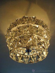 Lámpara de techo cristal de roca. España años 50 - 60.