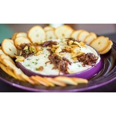 Caramelized Shallot and Roasted Garlic DipCreated for the Camembert Baker Quick Appetizers, Appetizers For Party, Appetizer Recipes, Garlic Dip, Roasted Garlic, Caramelized Shallots, Holiday Snacks, Le Creuset, Appetisers