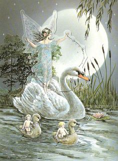 Swan Ride Glittered Die-Cut Blank Fairy Card. Sweet fairy artwork from Fairyland,