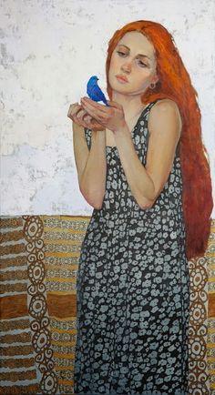 Blue Bird by Victoria Kalaichi Redheads FTW! L'art Du Portrait, Figurative Kunst, Victoria, Figure Painting, Woman Painting, Love Art, Blue Bird, Female Art, Art Drawings