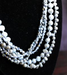 Silver Freshwater Pearl Necklace with acrylic beads by PEAFAIR