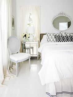 Evoking the look of freshly fallen snow, this cottage-style bedroom combines pearly whites with softer yellow-based whites for a look that is undeniably soothing and graceful: http://www.bhg.com/rooms/bedroom/color-scheme/bedroom-colors/?socsrc=bhgpin053014snowywhitecolorscheme&page=15