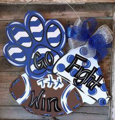 Paw print megaphone football door hanger by DoorCreationsbyJess