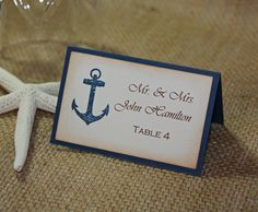 50 Anchor Nautical Wedding Escort Cards, Nautical Wedding or Shower Place Cards - Printed