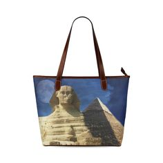 Sphinx and Pyramid Shoulder Tote Bag. FREE Shipping. #artsadd #bags #egypt