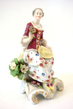 CHELSEA, BOW PORCELAIN STYLE FINE SEASONS FIGURE OF SPRING WITH FLOWERS