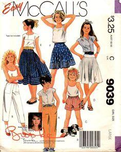 McCalls 9039 Girls Skirt, Pants, Shorts Brooke 80s Vintage Sewing Pattern Size Large 12 - 14 Waist 25 1/2 - 26 1/2 by patternmania on Etsy
