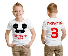 "Mickey Mouse ""Birthday Boy"" Toddler Youth Boy White Tee  Personalized Name and Age Number on Back Cool Mickey Mouse Custom Boy Disney Shirts by TheHotPolkaDot on Etsy https://www.etsy.com/listing/491022716/mickey-mouse-birthday-boy-toddler-youth"