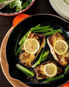 Garlic And Herb Halibut With Scallions. Links to recipe & several other seasonal items to eat this spring!