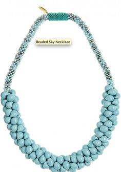 Hand blown glass rich with turquoise hues create luscious imagery on any neckline.
