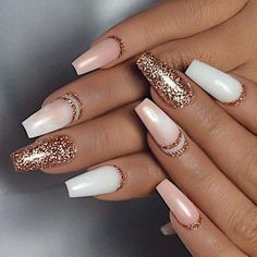 Rose Gold Glitter Nails With Glitter Accents - Gorgeous Rose Gold Nails Perfect For Summer -Rose Gold Nail Polish, Rose Gold Chrome Nails, Rose Gold Glitter, Rose Gold Gel Nails Gold Nails, White Nails, Pink Nails, Glitter Nails, Gold Glitter, Sparkle Nails, Brown Nails, Chrome Nails, Cute Nail Art Designs