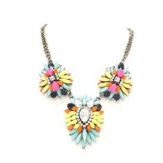 New Arrival   j une-          Pastel      Multi     Three   Drop   Cluster    Necklace £19.95
