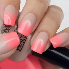 Discover new and inspirational nail art for your short nail designs. Nail Art Designs, Ombre Nail Designs, Short Nail Designs, Nails Design, Coral Ombre Nails, Neon Nails, Love Nails, Gradient Nails, Vernis Rose Gold