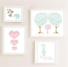Druckversion Mint-Rosa-Galerie Kinderzimmer Wand von CheekyAlbi