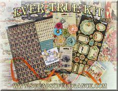 Scraps of Elegance Scrapbook Kits - Dec. 2014 Ever-True kit featuring Prima Cigar Box Secrets and Graphic 45 Raining Cats & Dogs