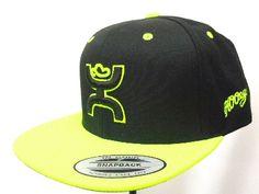 Mens Cowboy Hats HOOey Black/Neon Green Snapback Design Cowboy Cap