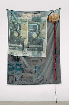 Robert Rauschenberg, Focus (Hoarfrost), 1975, solvent transfer on fabric and cardboard with objects, 220.4 x 124.5 x 14 cm (86 3/4 x 49 x 5 1/2 in.), Collection of Robert and Jane Meyerhoff