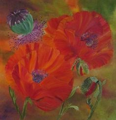 Original Ölgemälde Klatschmohn auf Keilrahmen von Blumenmalerei und mehr auf DaWanda.com