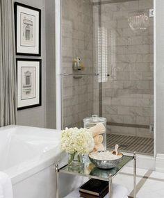 Brilliant Home Interior Design : Grey Bathroom Interior Design Ideas Marble Tile Shower design bedrooms interior design de casas interior decorators Bathroom Renos, Grey Bathrooms, Beautiful Bathrooms, Bathroom Modern, Neutral Bathroom, Bathroom Wall, Bathroom Colors, Classic Bathroom, Washroom