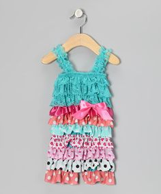 Take a look at this Teal Mix Print Ruffle Romper - Infant & Toddler by Head over Heels on #zulily today!