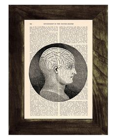 Upcycled Dictionary Page Upcycled Book Art Upcycled Art Print Upcycled Book Print Vintage Art Print Brain Phrenology studyBPSK045