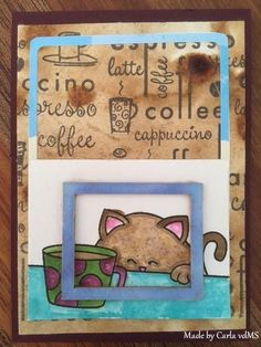 Newton Nook Coffee ATC | by Carla vdM | Newton Loves Coffee stamp set by Newton's Nook Designs #newtonsnook
