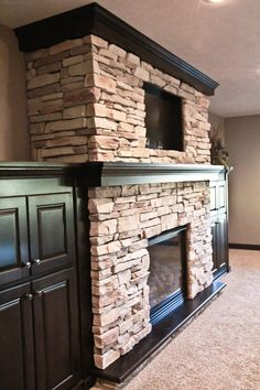 stone fireplaces with built ins | ... ; stone fireplace, built-ins around fireplace, TV above fireplace